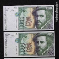 Billetes españoles: ESPAÑA 3 BILLETES DE 1000 PESETAS 1992 CORRELATIVOS SIN CIRCULAR. Lote 182867240