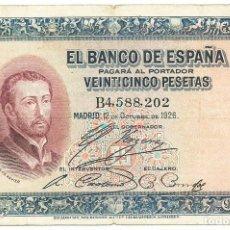 Billetes españoles: BILLETE DE 25 PESETAS, DE 12 DE OCTUBRE DE 1926, SERIE B. LOTE 1274. Lote 182871841