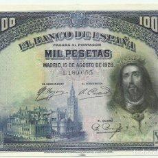 Billetes españoles: BILLETE DE 1000 PESETAS DE 15 DE AGOSTO DE 1928, SIN LETRA DE SERIE. LOTE 1273. Lote 182874141
