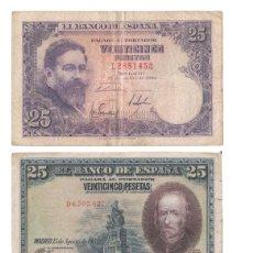 Billetes españoles: LOTE 3 BILLETES 25 PESETAS ALBENIZ 1954 CALDERÓN 1928 , 100 PESETAS FALLA 1970. Lote 182906547