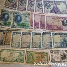 Billetes españoles: LOTE BILLETES ANTIGUOS ESPAÑOLES FRANCO Y REPUBLICA. Lote 182972612