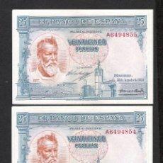 Billetes españoles: PAREJA CORRELATIVA 25 PESETAS 1936 SERIE A S/C. Lote 182903101