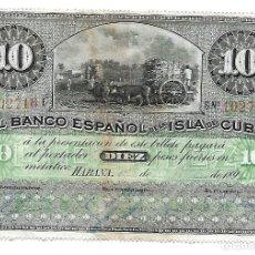 Billetes españoles: 10 PESOS 1896 BANCO ESPAÑOL DE LA ISLA DE CUBA. Lote 183086378