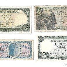 Billetes españoles: LOTE DE 4 BILLETES ESPAÑOLES. Lote 183087563