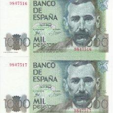Billetes españoles: PAREJA CORRELATIVA DE 1000 PESETAS DEL AÑO 1979 DE PEREZ GALDOS SIN SERIE, SIN CIRCULAR (SC). Lote 183267371