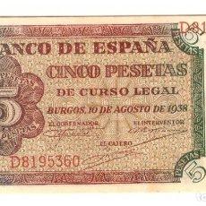 Billetes españoles: BANCO DE ESPAÑA. 5 PESETAS. BURGOS, 10 AGOSTO 1938. SERIE D. ESCASO ASÍ. Lote 183299338