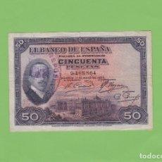 Billetes españoles: BILLETE 50 PESETAS BANCO ESPAÑA 17 MAYO 1927 REPÚBLICA ESPAÑOLA GUERRA CIVIL ALFONSO XIII MADRID. Lote 183357247