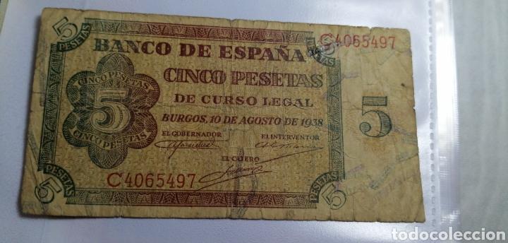 5 PESETAS DE BURGOS 10 DE AGOSTO DE 1938 (Numismática - Notafilia - Billetes Españoles)