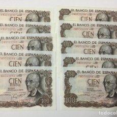 Billetes españoles: LOTE 10 BILLETES 100 PESETAS AÑO 1970, CORRELATIVOS ESTADO SC. Lote 183589810