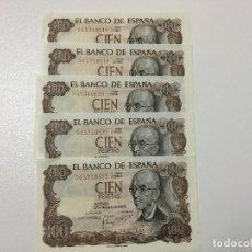 Billetes españoles: LOTE 5 BILLETES 100 PESETAS AÑO 1970, CORRELATIVOS ESTADO SC. Lote 183591025