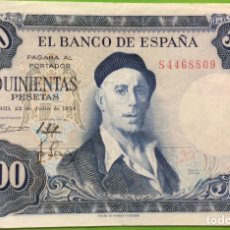 Billetes españoles: BILLETE 500 PESETAS 1954 - IGNACIO ZULOAGA. EBC++. SERIE S. Lote 183796276