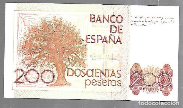 Billetes españoles: BILLETE. BANCO DE ESPAÑA. 200 PESETAS. MADRID 1980. ALAS CLARIN. SIN SERIE. PLANCHA. VER - Foto 2 - 183798405