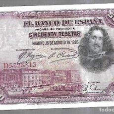 Billetes españoles: BILLETE.BANCO DE ESPAÑA. 50 PESETAS. MADRID 1928. VELAZQUEZ. VER. Lote 183799707