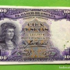 Billetes españoles: BILLETE 100 PESETAS 1931 - FERNÁNDEZ DE CORDOBA. EBC ++. SIN SERIE. Lote 183830683