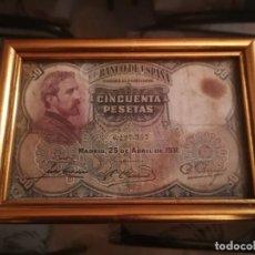 Billetes españoles: BILLETE 50 PTS ABRIL 1931. ENMARCADO CON DOBLE CRISTAL. Lote 184010488