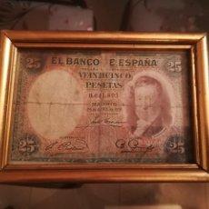 Billetes españoles: BILLETE 25 PTS ABRIL 1931 ENMARCADO Y COMO SE VE EN LAS FOTOS. Lote 184030302