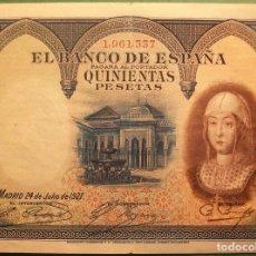 Banconote spagnole: BANCO DE ESPAÑA. 500 PESETAS. 24 JULIO 1927. ISABEL LA CATÓLICA. MBC-/MBC. Lote 184189227