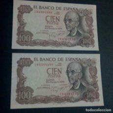 Billetes españoles: PAREJA CORRELATIVA 100 PESETAS 1970 (ULTIMA SERIE 7W) SC,SC-. Lote 184358110