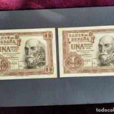 Billetes españoles: 1 PESETA PTA 1953 2 BILLETES CORRELATIVOS SERIE A MBC. Lote 184359902