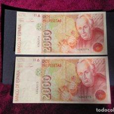 Billetes españoles: 2000 PESETAS 1992 DOS BILLETES CORRELATIVOS SIN SERIE EBC. Lote 184362618