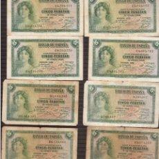 Billets espagnols: REPUBLICA 10 BILLETES DE 5 PESETAS DE LA REPUBLICA LOS QUE VES. Lote 184386748