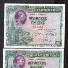 Billetes españoles: PAREJA CORRELATIVA 500 PESETAS 1928 SIN SERIE S/C. Lote 184458580