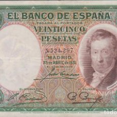 Billetes españoles: BILLETES ESPAÑOLES - II REPUBLICA - 25 PESETAS 1931 - SIN SERIE - MBC. Lote 184496248