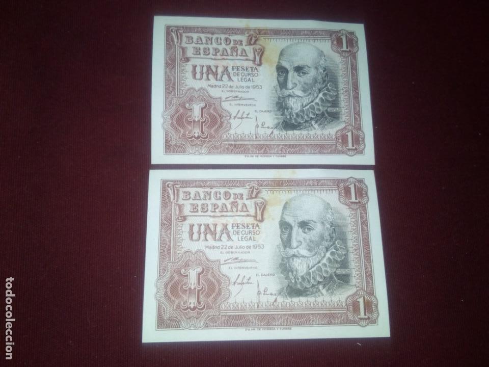 PESETA DE 1953 SC. PAREJA DE 2 BILLETES CORRELATIVOS (Numismática - Notafilia - Billetes Españoles)