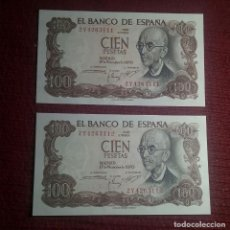 Banconote spagnole: PAREJA CORRELATIVA 100 PESETAS 1970 (SERIE 2Y) SC. Lote 184633232