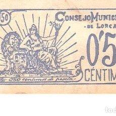 Billetes españoles: BILLETE CONSEJO MUNICIPAL DE LORCA DE 50 CENTIMOS DE 1937 CIRCULADO. Lote 185173798