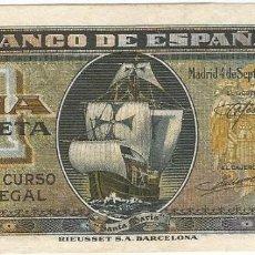 Billetes españoles: ESPAÑA - SPAIN 1 PESETA 4-9-1940 PK 122 A.2. Lote 185590695