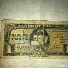 Billetes españoles: BILLETE DE UNA PESETA SEPTIEMBRE DE 1940 CARABELA SANTA MARÍA, RIEUSSET BARCELONA. Lote 185725071