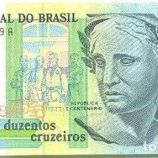 Banconote spagnole: BRASIL - BRAZIL 200 CRUZEIROS 1990 PK 229 FIRMAS CARDOSO DE MELLO-ÉRIS UNC. Lote 185937716