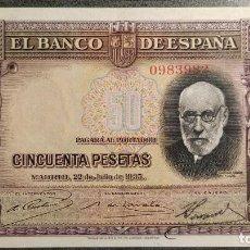 Billetes españoles: BILLETE DE 50 PESETAS 1935 RAMON Y CAJAL MBC . Lote 186164815
