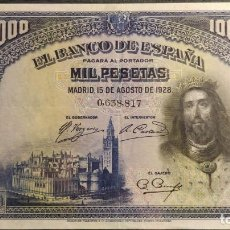 Billetes españoles: BILLETE 1000 PESETAS AGOSTO 1928 SAN FERNANDO SIN SERIE Nº BAJO EBC. Lote 186177640