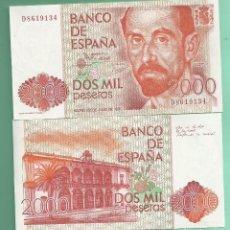 Billetes españoles: ESPAÑA:2 BILLETES DE 2000 PESETAS 1980. SERIE D CORRELATIVOS. J.RAMON JIMENEZ. Lote 186256616