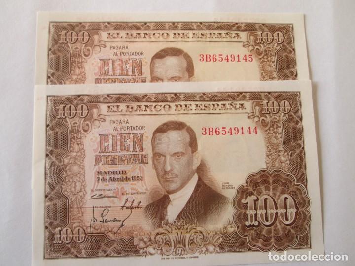 BILLETE * 100 PESETAS 7 DE ABRIL DE 1953 * S/C PAREJA CORRELATIVA (Numismática - Notafilia - Billetes Españoles)