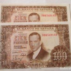 Billetes españoles: BILLETE * 100 PESETAS 7 DE ABRIL DE 1953 * S/C PAREJA CORRELATIVA. Lote 186323461