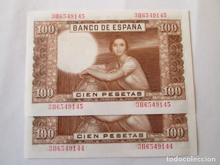 Billetes españoles: BILLETE * 100 PESETAS 7 DE ABRIL DE 1953 * S/C PAREJA CORRELATIVA - Foto 2 - 186323461