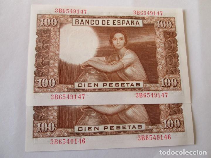 Billetes españoles: BILLETE * 100 PESETAS 7 DE ABRIL DE 1953 * S/C PAREJA CORRELATIVA - Foto 2 - 186323565
