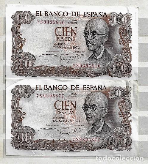 ESPAÑA,1970,MANUEL DE FALLA,2 EJEMPLARES EBC, CORRELATIVOS SERIE 7S (Numismática - Notafilia - Billetes Españoles)