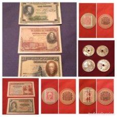 Billetes españoles: LOTE BILLETES, MONEDA Y CARTÓN MONEDA. ALFONSO XIII Y REPÚBLICA. Lote 187470758