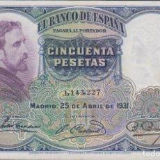 Billetes españoles: BILLETES ESPAÑOLES - II REPUBLICA - 50 PESETAS 1931 - SIN SERIE (EBC-). Lote 187527118