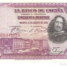 Billetes españoles: BILLETE DE ESPAÑA DE 50 PESETAS DE 1928 CIRCULADO VELAZQUEZ. Lote 188746231