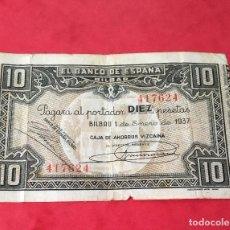 Billetes españoles: 10 PTAS 1937 BANCO ESPAÑA DE BILBAO. Lote 189260052