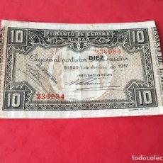 Billetes españoles: 10 PTAS 1937 BANCO ESPAÑA DE BILBAO. Lote 189260117