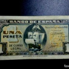 Billetes españoles: BILLETE 1 PESETA SEPTIEMBRE 1940 CARABELA SERIE G EBC*PAGO SOLO PAYPAL*. Lote 189343395