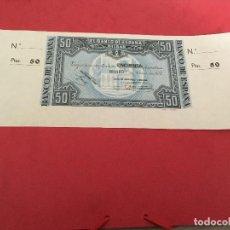 Billetes españoles: 50 PTAS 1937 CON MATRICES BANCO ESPAÑA DE BILBAO. Lote 189350176