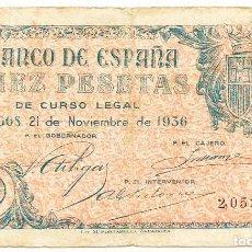 Banconote spagnole: BILLETE DE 10 PESETAS, DE 21 DE NOVIEMBRE DE 1936. BURGOS. MUY RARO. LOTE 1313. Lote 189391727