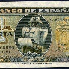 Billetes españoles: 1 PESETA SEPTIEMBRE 1940 - SIN SERIE - EBC/EBC+. Lote 189465357